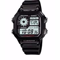 Relogio Casio Ae 1200w-1a Borracha-mapa Preto,crono,alarme