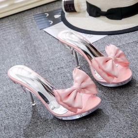 Zapatillas Transparentes Plantilla Rosa Con Moño Varia Talla