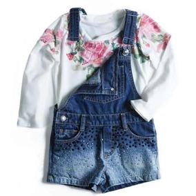 Jardineira Infantil Em Jeans Com Tachas E Apliques E Camiset