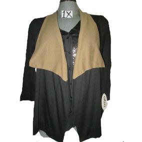 Blusa Tipo Cardigan Negro De Gala Plus Talla 1 X Americano
