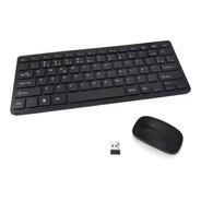 Kit Mini Teclado Mini Mouse Sem Fio 2.4g Ultra Slim Black