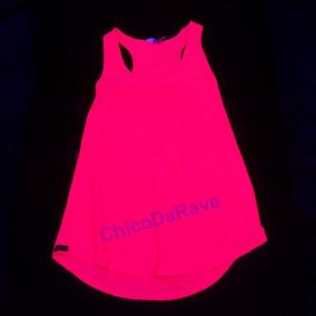 Blusinha Suadeira Rosa Fluorescente Brilha Na Luz Negra P