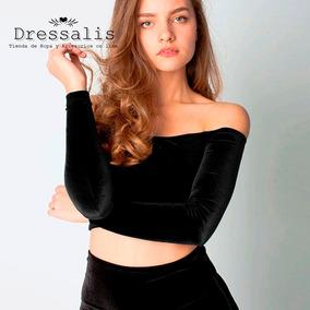Dressalis - Top Crop Off Shoulder En Terciopelo!!