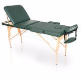 Mesa Maca De Massagem Dobrável Divã Portátil Estética Verde