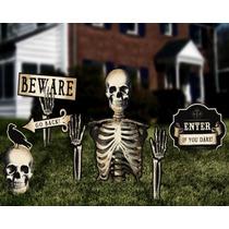 Kit Halloween Decoración Letrero Muertos Esqueleto Calavera
