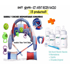 Mamaderas Avent Caja+set Gym Mama Bebe.15 Productos!!