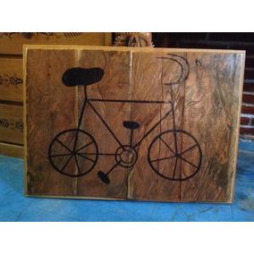 Cuadro De Madera Tazcate, Rustico Bicicleta