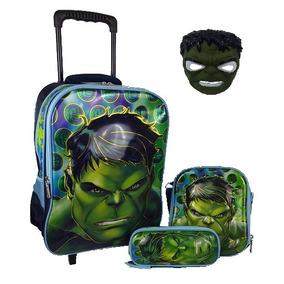 Mochila De Rodinha Hulk 3d Infantil Escolar Kit Com Mascara