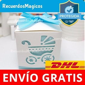 40 Cajas Baby Shower Dulces Recuerdos Carriola Bautizo Azul