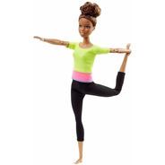 Boneca Barbie Articulada Morena Top Yoga Asha Made To Move