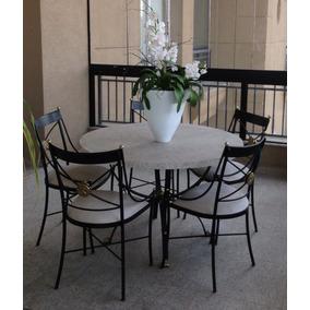 Conjunto Mesa Com 5 Cadeiras E Aparador Em Ferro E Mármore