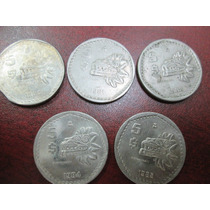 Monedas 5 Pesos Nickel Quetzalcoal Serie Completa 1980-1985