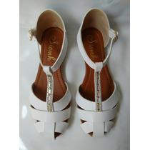 Linda Sandalia Blanca Para Dama Calzado De Moda Envio Gratis