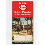 Folheto Propaganda Antiga Mapa Esso São Paulo Sul Do Brasil