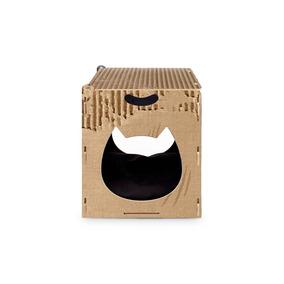 Arranhador Gato Pufe Casinha Com Almofada Mdf