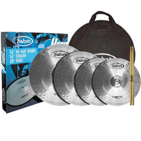 Kit Set Pratos Bateria Sahab Hero 14 16 20 Bag Estudo Barato