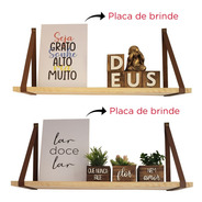 Kit 2 Prateleiras De Madeira Alça De Couro Decoração De Casa