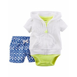 Set 3 Piezas Short Chaleco Y Body Musculosa Carters Original