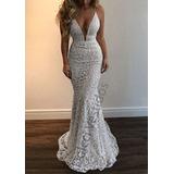 Vestido Longo Alcinha Em Renda (madrinha, Casamento)