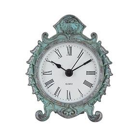 Reloj De Mesa Nikky Inicio Barroco Estaño Cuarzo Redonda Con