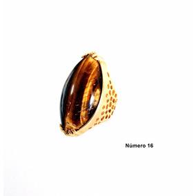 Semi Jóia Anel Dourado N°16 Pedra Natural Olho De Tigre