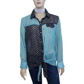 Camisa Importada De Musseline Listrada/estrela Tam G