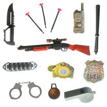 Arminha Rifle Kit Policial 13 Pçs Espingarda Kit Fantasia