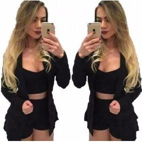Conjunto Blazer Short Cropped Top Blazer 3 Peças Manga Longa