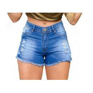 Kit 3 Short Jeans Cintura Alta Feminino Desfiado C Elastano