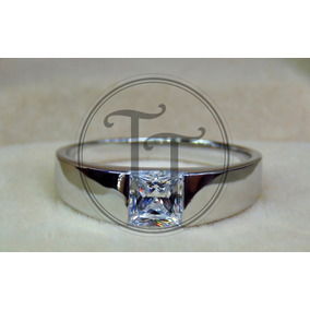 Anillo Hombre Pt950 Diamante Sona 1.0 Ct Plata Esterlina 925