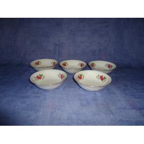 Compoteras Porcelana Rosas Y Hojas 5 Unidades