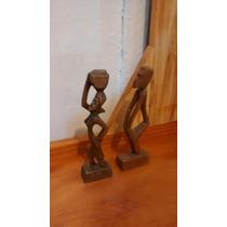 Par Escultura Estatetas Negros Escravos Madeira