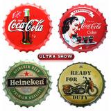 Placa Decorativa Tampa Garrafa Coca-cola Cerveja Moto Metal