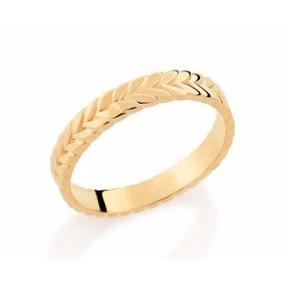 Par Aliança Rommanel 3mm Noivado Casamento Folh Ouro 512513