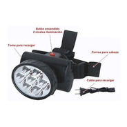 Linterna Led Cabeza Recargable De 5 A 9 Led