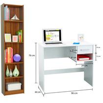 Combo Mueble Biblioteca 5 Estantes Mini + Escritorio Pc