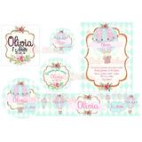 Hoja A4 Etiquetas Stickers Candy Globo Aerostatico Shabby