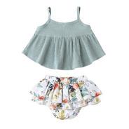 Set Conjunto Niña Blusa Y Short Gris Con Blanco