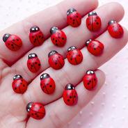 Mini Joaninha Ladybug Adesivo 3d Decoração Jardim Scrap