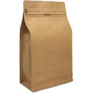 Bolsa Para Café Con Válvula, Fuelle, Fondo Plano Kraft, 1 Kg