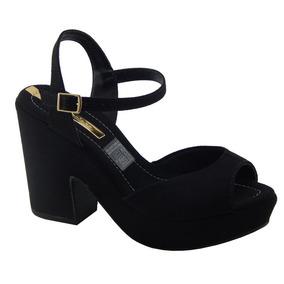 Sapato Sandalia Moleca Meia Pata Salto Grosso - Elegante