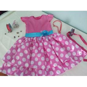 Vestido Rosa C/ Bolinhas-infantil/festa-tam 06- Única Peça!!