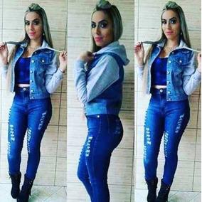 Jaqueta Jeans Manga De Moletom Capuz Blusa Moda Feminina