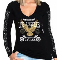 Camisa Manga Comprida Moto Feminina Lethal Cycles Modelo 01