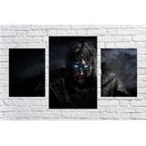 Quadro Game Jogos Shadow Of Mordor Senhor Dos Aneis 3 Pçs