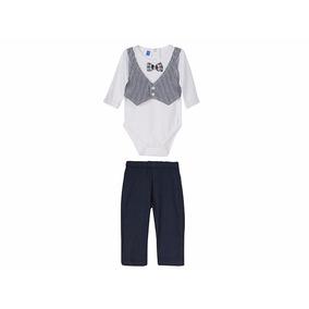Conjunto Bebé Con Chaleco Simulado Moño Pantalón 6-18m