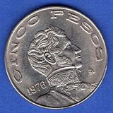 Moneda Cinco Pesos Vicente Guerrero 1976 C11