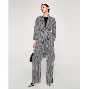 Saco Kimono Rayas Blanco Y Negro Estampado Moda Zara New