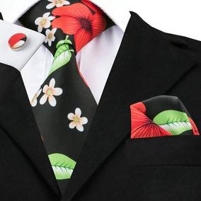 B1256 Seda | Corbata Pañuelo Mancuernillas | Mexicana Floral