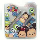 Set De Regalo Escolar C/cartuchera Regla Disney Tsumtsum
